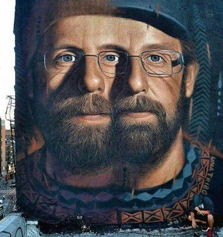 Os Gemeos portrait by Jorit Agoch @Manhattan, NYC