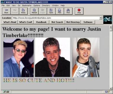 Un sito di fan di Justin Timberlake nei primi anni di internet