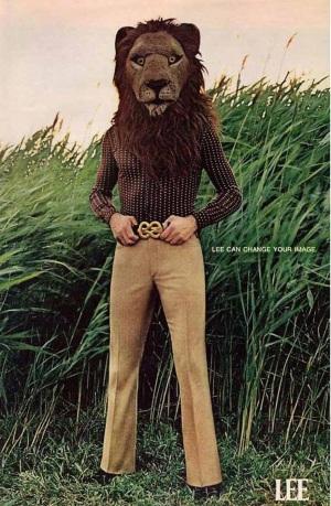 1971. Pubblicità dei pantaloni Lee Bush per uomini