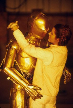 Carrie Fisher sul set di Star Wars