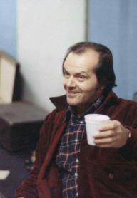 Jack Nicholson durante le riprese di The Shining (1980) diretto da Stanley Kubrick