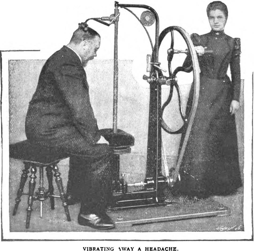Macchina vibrante contro il mal di testa. Circa 1900