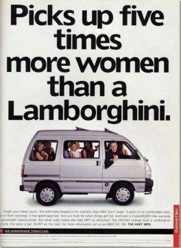 Pubblicità Daihatsu, 1996 (Contiene cinque volte più donne che una Lamborghini)