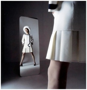Benedetta Barzini in suit by Mila Schön, photo by Ugo Mulas, Spring Summer 1969