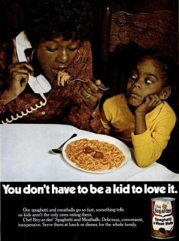Spaghetti e polpette Chef Boy-ar-dee, Ebony magazine, 1974
