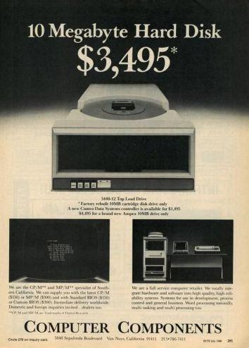 Disco rigido da 10MB al prezzo di 3,495 dollari, luglio 1980