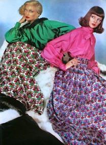 Modelle vestono abiti di Philippe Venet, Vogue Paris, Settembre 1975