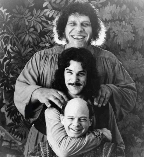 Andre the Giant, Mandy Patinkin e Wallace Shawn sul set di 'The Princess Bride' 1987