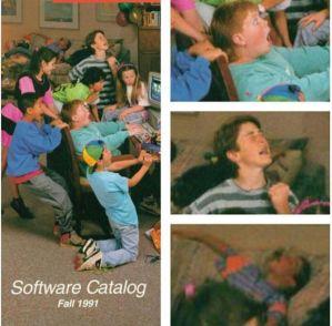 Bambini giocano su un PC negli anni 90