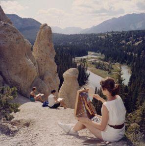 Studenti dipingono il paesaggio, parco nazionale di Banff, Alberta, luglio 1957