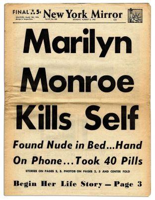 La prima pagina del New York Mirror il giorno dopo la morte di Marilyn Monroe