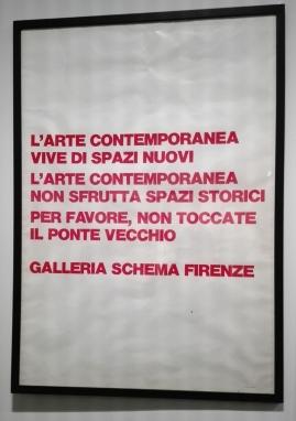 """Museo Novecento Firenze - """"Per favore, non toccate il Ponte Vecchio"""" (1974) di G.Chiari e A.Moretti"""