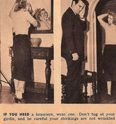 Se avete bisogno di un reggiseno, indossatene uno. Non stringetelo al busto e fate attenzione che le calze siano ben tese