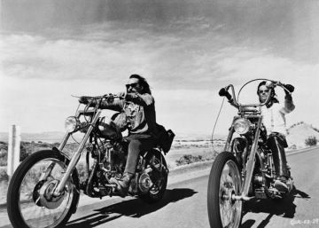 "Dennis Hopper e Peter Fonda in ""Easy Rider"""