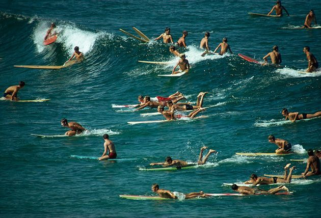 Folla di surfisti sulle onde al largo di Bondi Beach in Australia, 1963