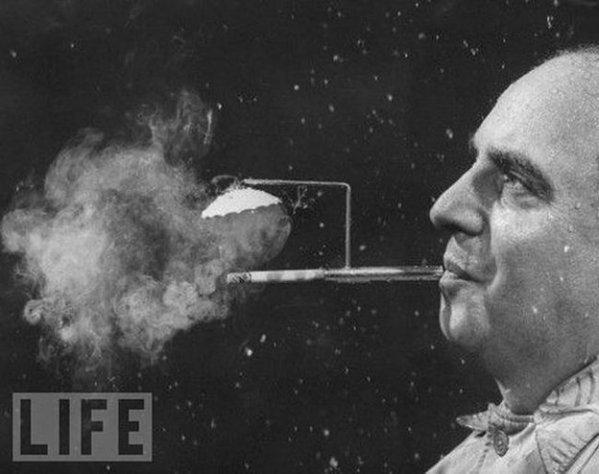 LIFE Magazine - Rainy Day Cigarette Holder, 1954. President of Zeus Corp