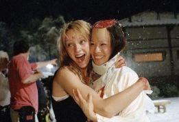 Uma Thurman e Lucy Liu sul set di Kill Bill, 2003