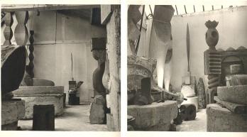 A sinistra: Brancusi, vue d'atelier, 1955; A destra: Atelier Brancusi, 11 Impasse Ronsin 15e, 1955. Immagini © Successione Brancusi - Tutti i diritti riservati ADAGP, Paris / Artist Rights Society (ARS), New York. Foto per gentile concessione di Paul Kasmin Galleria