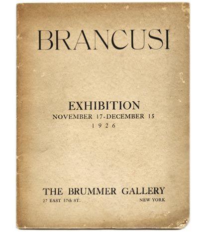 Constantine Brancusi Exhibition Catalog - The Brummer Gallery - New York, 1926