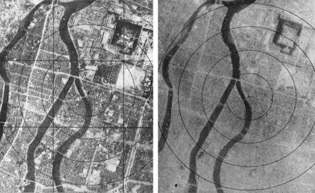 Hiroshima prima e dopo il bombardamento, il 6 agosto 1945