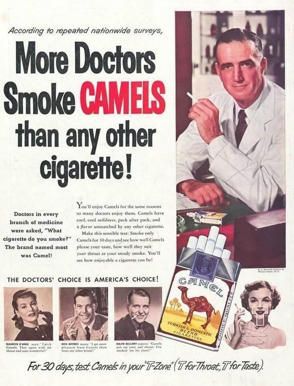 Le sigarette sono state pubblicizzate come benefiche per la salute, fino all'inizio degli anni 50