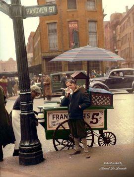 Stand di Hot Dog a North End, Boston, 1937