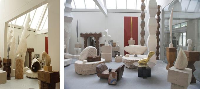 Studio di Brancusi ospitato presso il Centre Georges Pompidou. A sinistra: Foto di George Moga, via Flickr. A destra: Foto di Thor, via Flickr