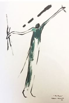 Helena Almeida - La Ligne, 1985 (Works on paper, ink and dark green gouache on paper)