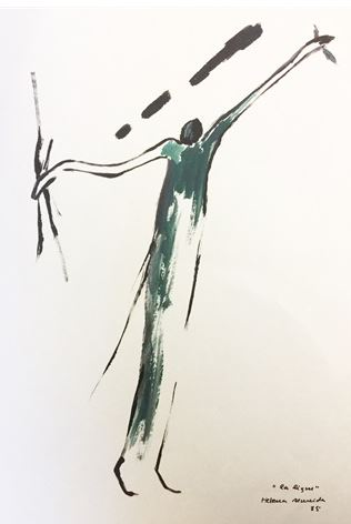Helena Almeida - La Ligne, 1985 (Works on paper, ink and dark green gouache on paper)