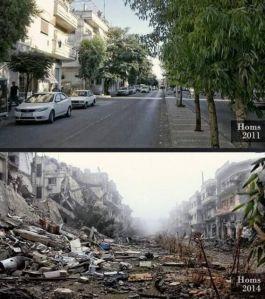 La stessa strada a Homs, in Siria, nel 2011 e oggi