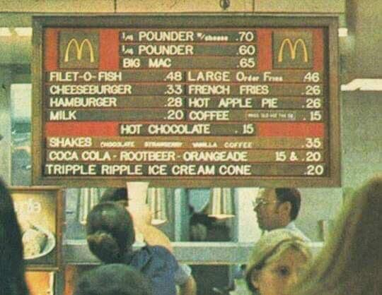 Menù McDonald's, 1973