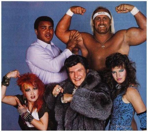 Muhammad Ali, Hulk Hogan, Cyndi Lauper, Liberace e Wendi Richter. Anni 80