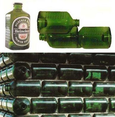 Nel 1963 Alfred Heineken fece una bottiglia di birra che poteva funzionare come mattone per costruire case in paesi impoveriti