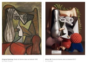Original Painting: Buste de femme dans un fauteuil (1949) by Pablo Picasso - Mimic 3d: Buste de femme dans un fauteuil (2017) by Omar Aqil