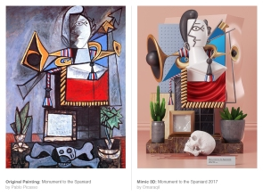 Original Painting: Monument to the Spaniard by Pablo Picasso - Mimic 3d: Monument to the Spaniard (2017) by Omar Aqil
