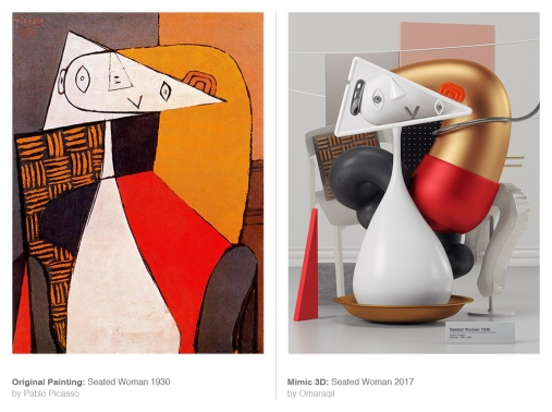 Original Painting: Seated Woman (1930) by Pablo Picasso - Mimic 3d: Seated Woman (2017) by Omar Aqil