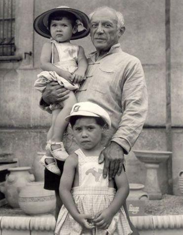Pablo Picasso, 1951 con 2 dei suoi 4 figli