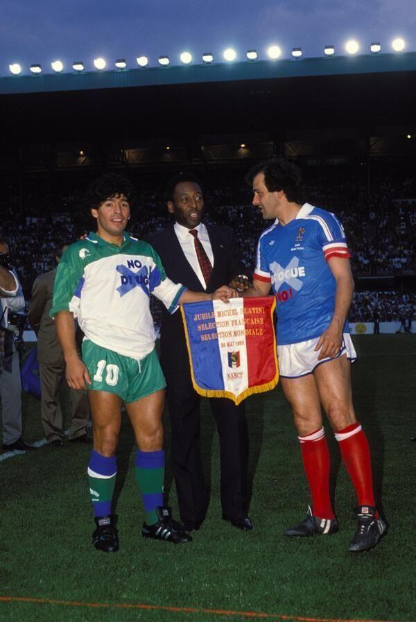 Pelé, Maradona e Platini promuovono una partita anti-droghe, 1988