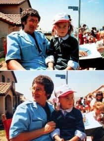 Steven Spielberg e Drew Barrymore durante le riprese di E.T.