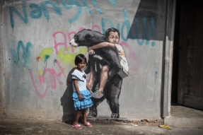 Ernest Zacharevic @Bukit Lawang - Photo Credit Ernest Zacharevic