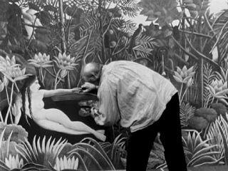 Henri Rousseau dipinge gli ultimi dettagli di uno dei suoi famosi dipinti