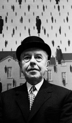 René Magritte al MOMA, New York, 1965 by Steve Schapiro