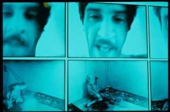 """Untitled (Flesh painting Image Whiping, Surface torture, Exercises, Extinction, Blue Overdosed)"" di Tibor Hajas (Ungheria)"