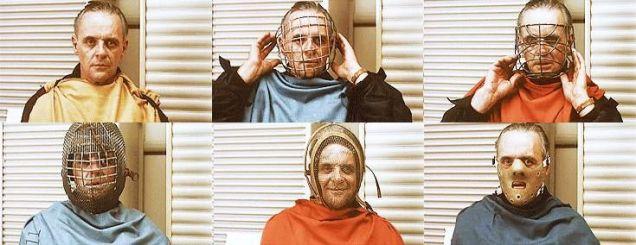 Anthony Hopkins prova diverse maschere per Hannibal Lecter nel Silenzio degli innocenti