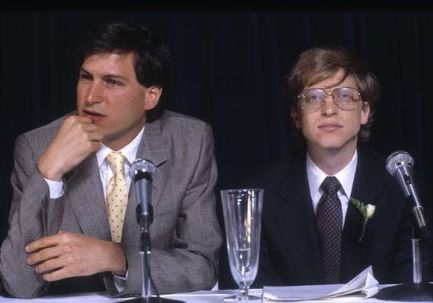 Bill Gates con Steve Jobs, 1985