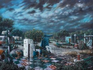 Nicola Caredda - Senza titolo con futuro plumbeo - 112x85 cm- acrilico su tela- 2015