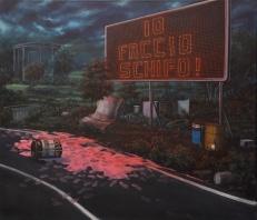 Nicola Caredda - Senza titolo con ziclon rosa 91x78cm acrilico su tela 2016