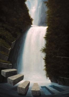 Paolo Pibi - Waterfall 2 - acrylic on paper _ (50x30 cm 2016)
