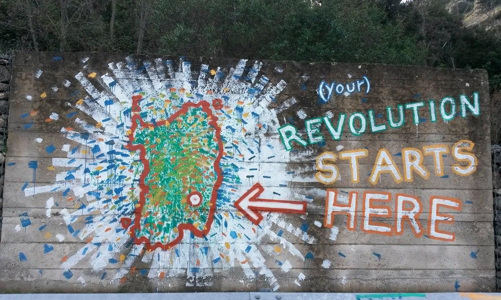 (your) #Revolution Starts Here! Tecnica mista su Ormigón #Armungia loc. Muru Longu Umberto Cao + Massimo Congiu 2016