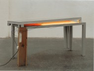 Pedro Cabrita Reis - Do you still love me - 2004, alluminio, vetro, lampada fluorescente, 90x163x66cm